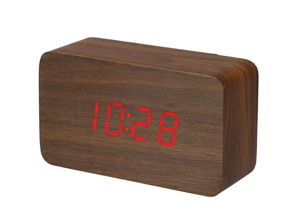 WOODEN CLOCK WITH CALENDAR AND TEMPERATURE