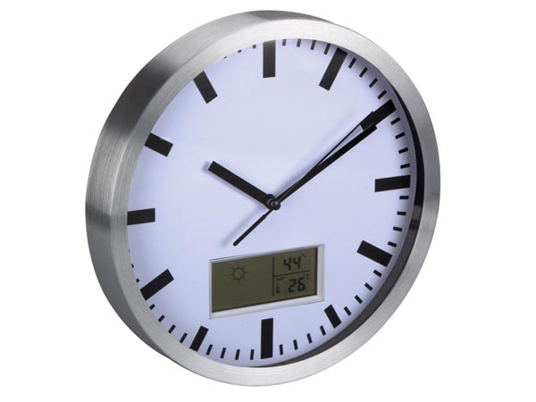 ALUMINIUM LCD WALL CLOCK THERMOMETER AND HYGROMETER 25 cm