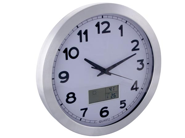 ALUMINIUM LCD WALL CLOCK THERMOMETER HYGROMETER AND FORECAST Ø 35 cm