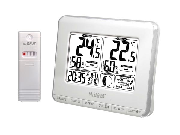 LA CROSSE - WEATHER STATION WITH MOON PHASES, TEMPERATURE ALERTS AND HEAT INDEX