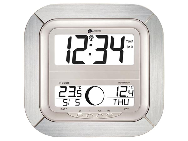 LA CROSSE - DCF CLOCK WITH MOON PHASE, CALENDAR & TEMPERATURE