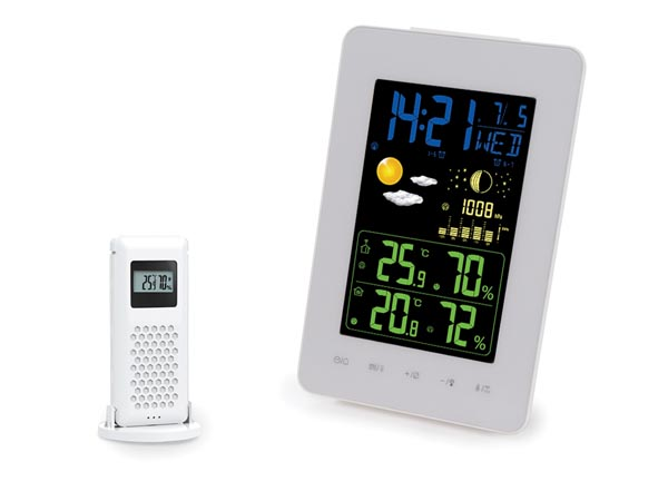 WIRELESS DCF WEATHER STATION WITH COLOUR DISPLAY THERMO/HYDRO