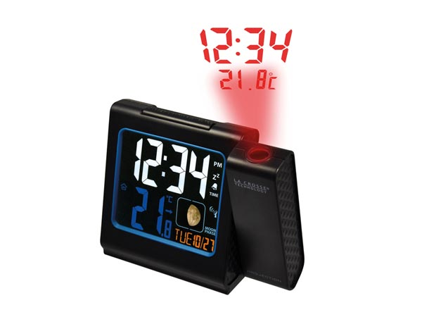 LA CROSSE - RADIO CONTROLLED ALARM CLOCK WITH PROJECTION - WITH USB CHARGE PORT