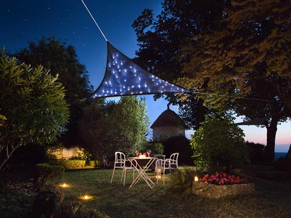 SHADE SAIL WITH BUILT-IN LED STARRY SKY - TRIANGLE - 3.6 x 3.6 x 3.6 m - DARK BLUE