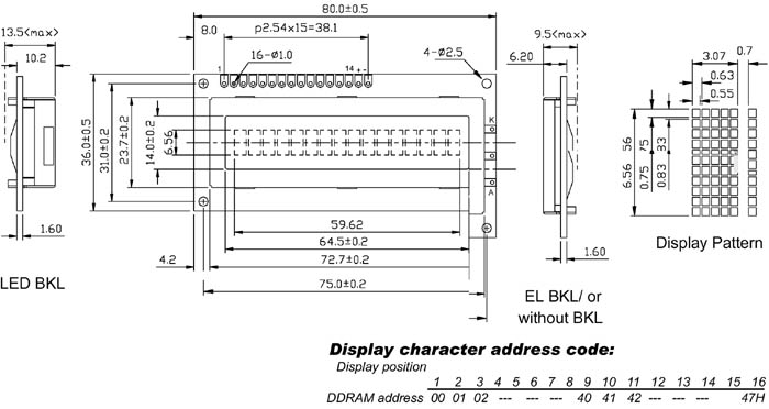 LCD 16x1 Tn With  Backlight Low Cost For LCD1601al